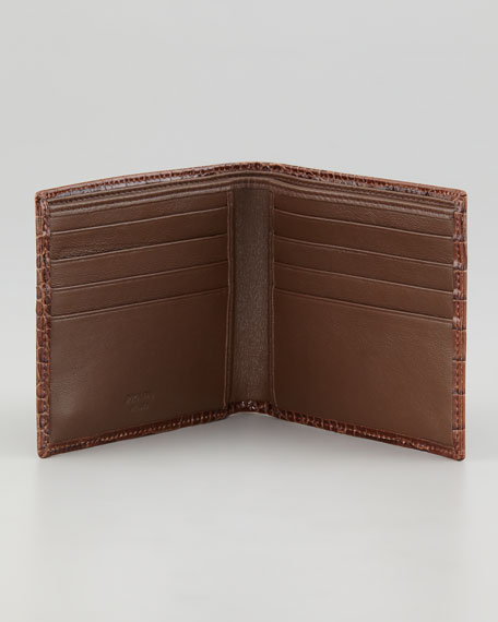 Crocodile-Embossed Bi-Fold Wallet, Brown