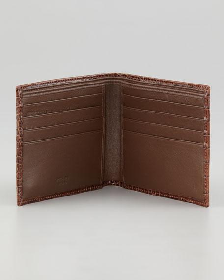 Crocodile-Embossed Bi-Fold Wallet, Brown