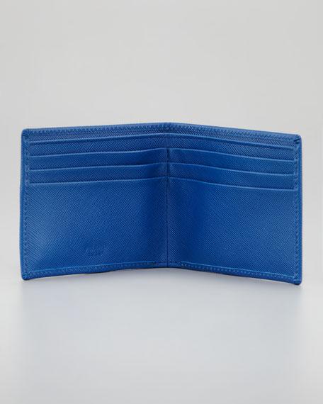Saffiano Logo Bi-Fold, Cobalt