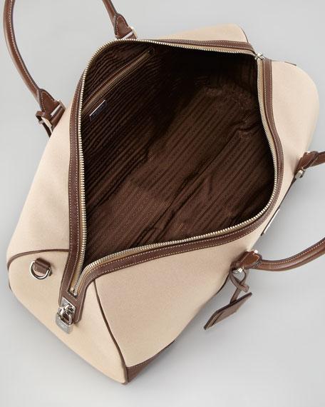 Canvas Leather-Trim Duffle Bag, Beige/Brown