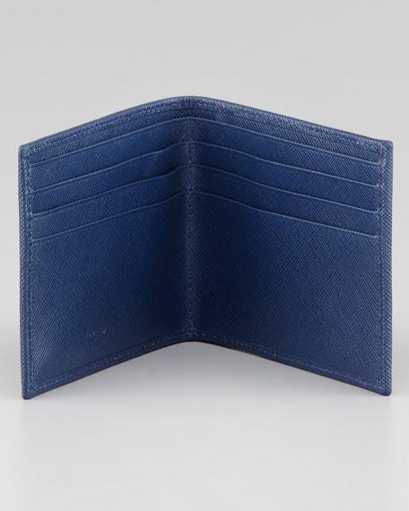 Saffiano Bicolor Logo Wallet, Blue/Navy