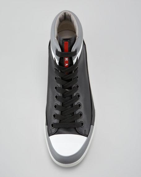 Hi-Top Contrast-Lip Sneaker, Black