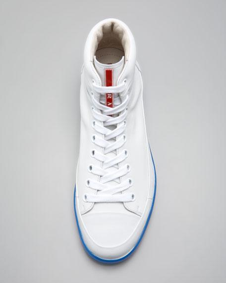 Hi-Top Neon-Sole Sneaker