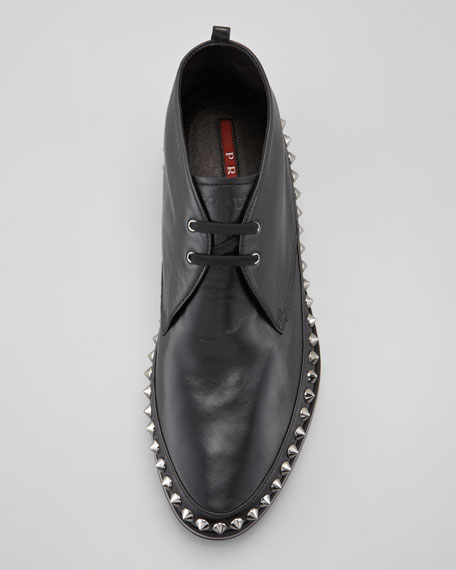 Studded Rim Chukka Boot, Black