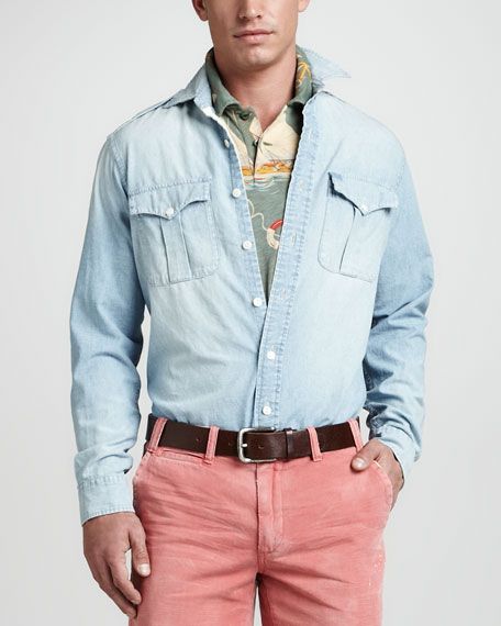 Long Sleeve Chambray Military Shirt, Dune Wash