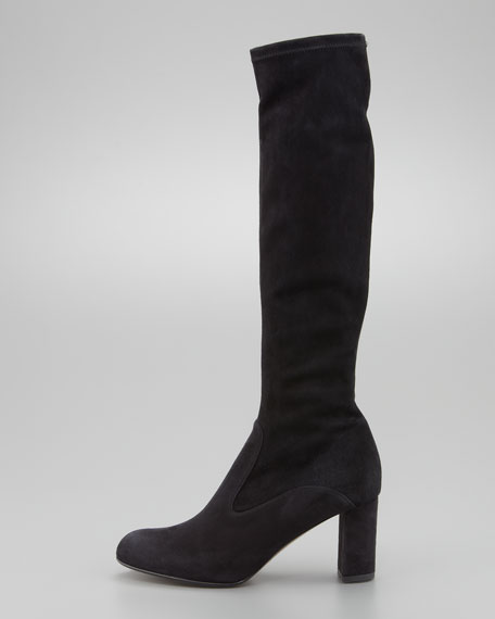Stretch Suede Knee Boot, Black