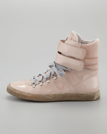 Patent Leather Hi-Top Sneaker, Nude