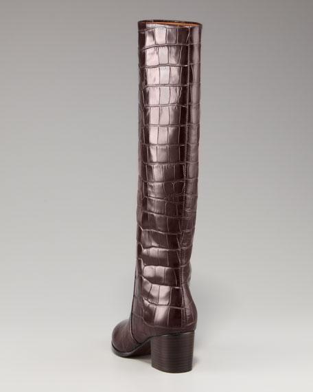 Jayson Croc-Embossed Knee Boot