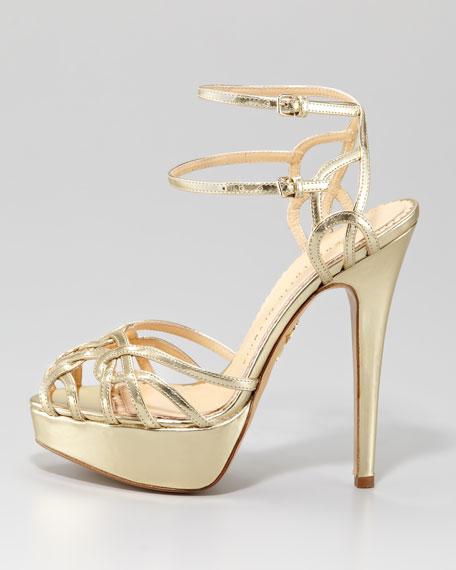 Ursula Metallic Strappy Platform Sandal