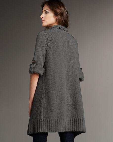Braided Cotton-Cashmere Cardigan