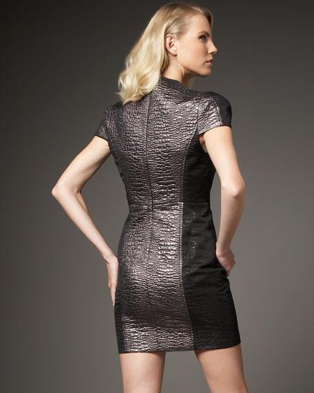 Cap-Sleeve Jacquard Dress