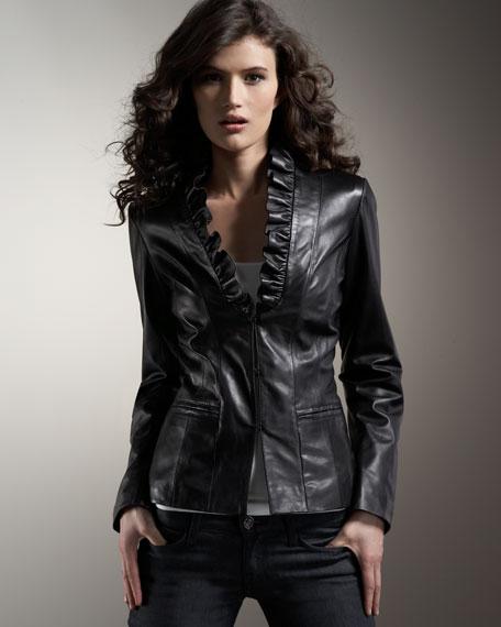 Ruffled Leather Jacket, Women's