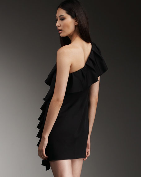 Calla Ruffled Dress, Black