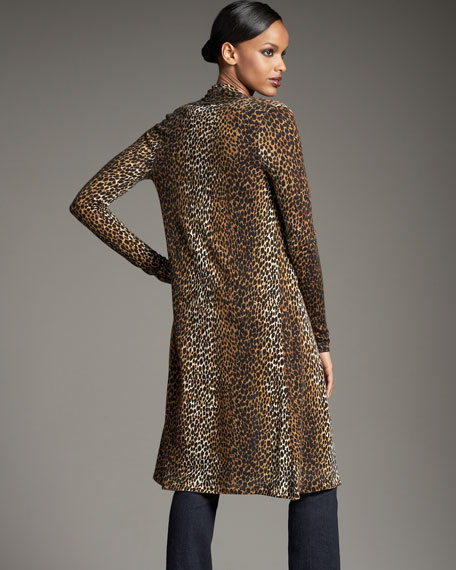 Long Cheetah-Print Cardigan