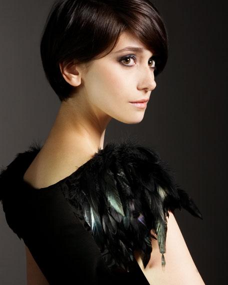 Jocelyn Feathered-Sleeve Top