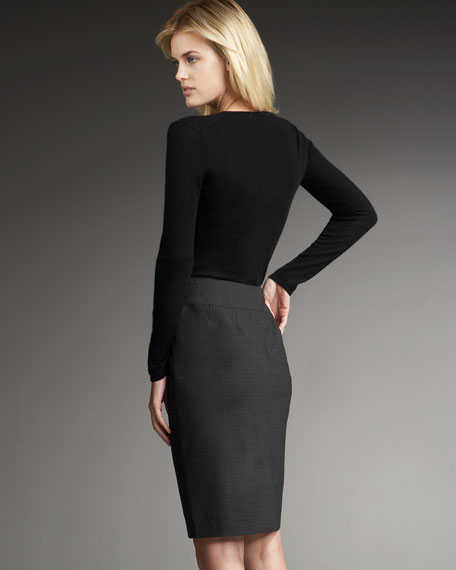 Belted Stretch Wool Skirt