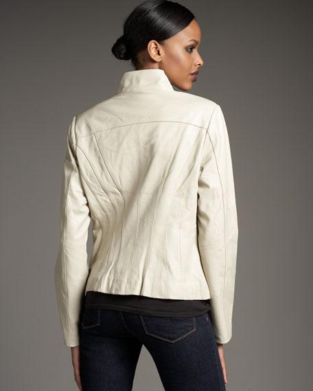 Ruffle-Placket Leather Jacket