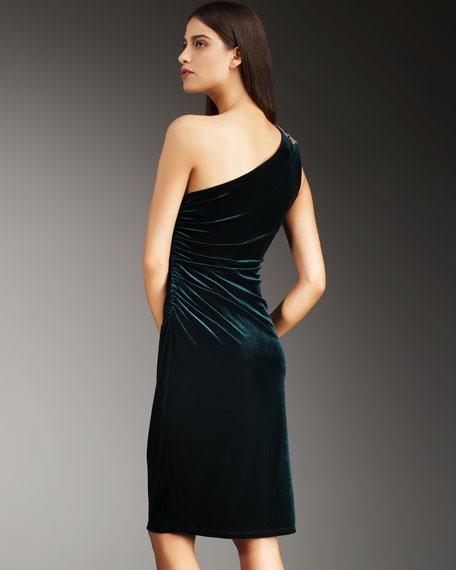 One-Shoulder Velvet Dress