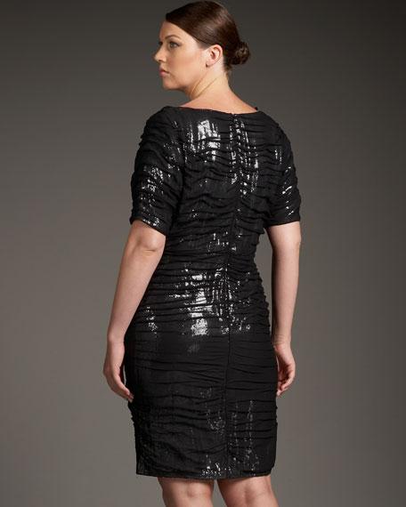 Sequined Tulle-Overlay Dress, Women's
