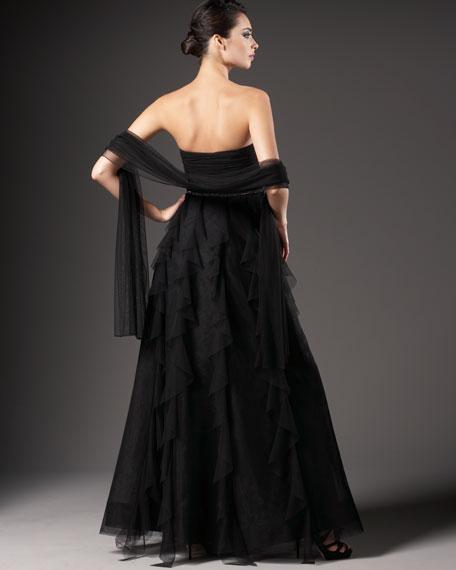 Strapless Tiered Bottom Gown