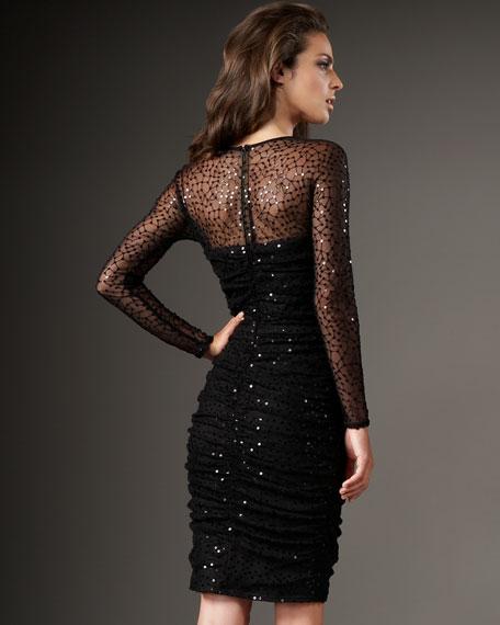 Bateau-Neck Illusion Dress