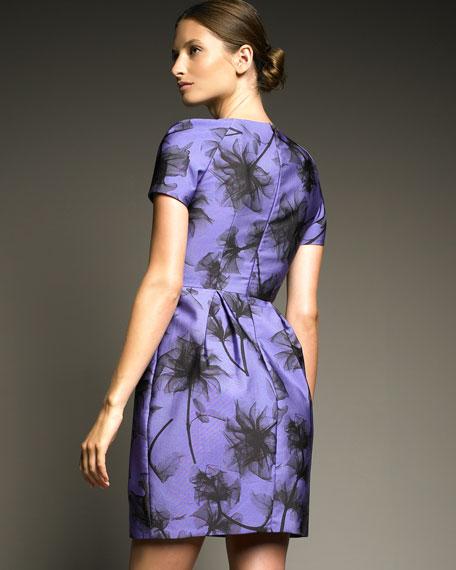 Flower-Print Faille Dress
