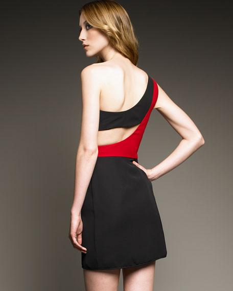 Kylie Colorblock One Shoulder Mini Dress