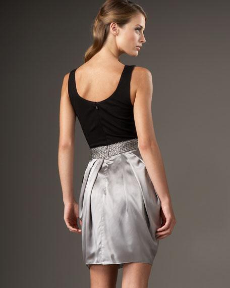 Scoop-Neck Beaded-Waist Dress