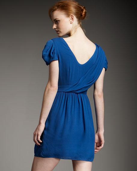 Draped Wrap-Detail Dress