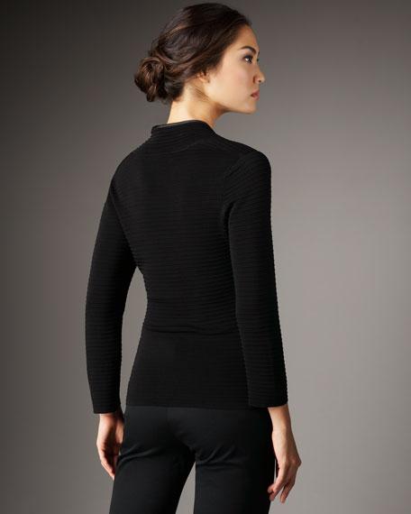 Silk-Trim Ribbed Sweater