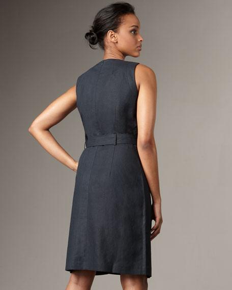 Linen-Blend Belted Dress
