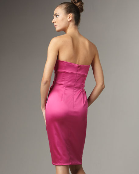 Satin Jewel-Bust Dress