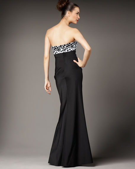 Floral-Print Taffeta Gown