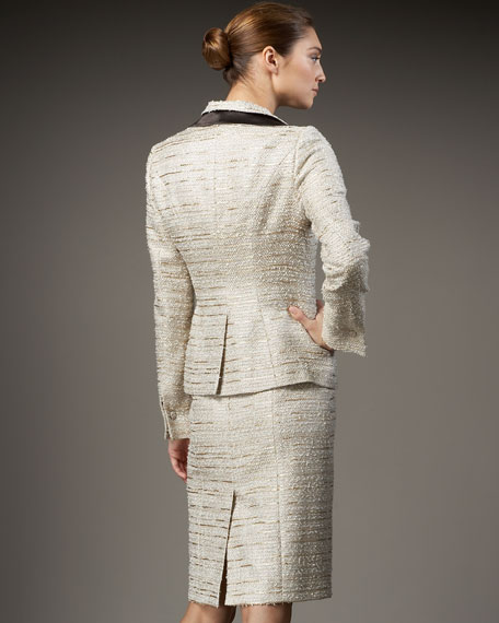 Satin-Ruffle Metallic Tweed Jacket