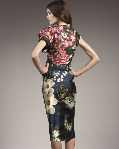 Mixed Floral-Print Dress