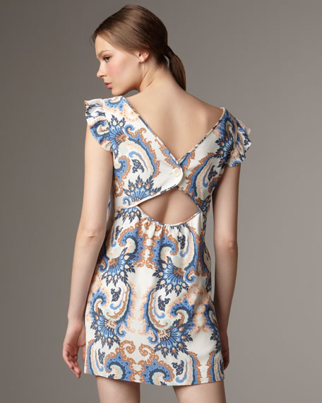 Split-Neck Printed Shift Dress