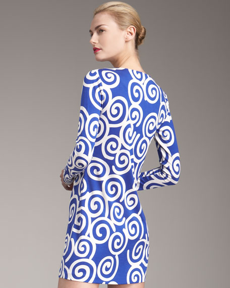 Reina Printed Dress, Blue