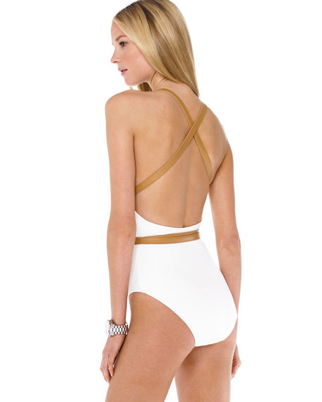 Wrap-Around Belted Maillot Swimsuit