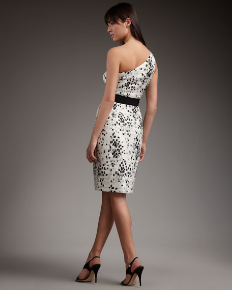 One-Shoulder Square-Print Gown