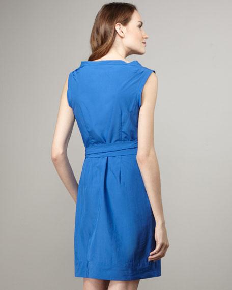 Della Tie-Waist Dress, Cadet Blue