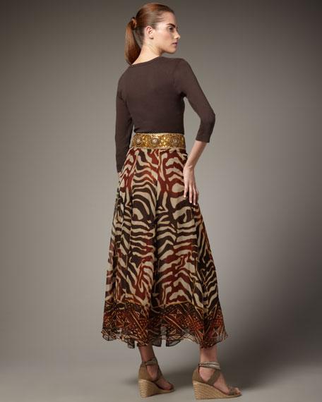 Beaded-Waist Zebra-Print Skirt, Women's