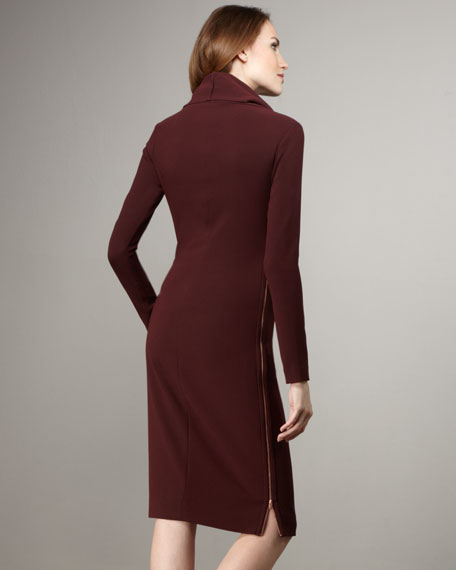 Chlorisa Turtleneck Side-Zip Dress