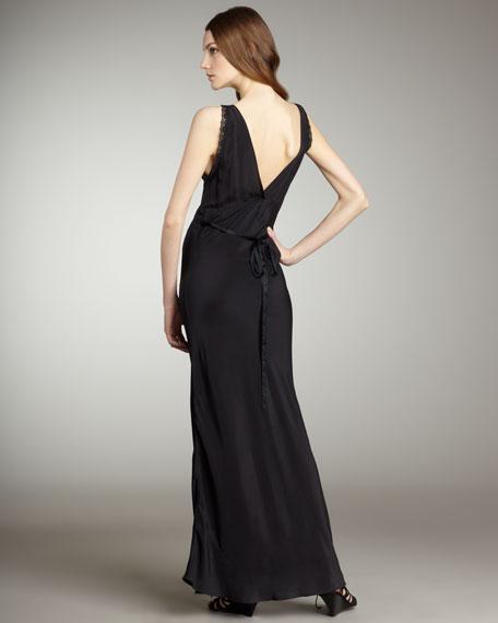 Barbel Lace-Trim Maxi Gown