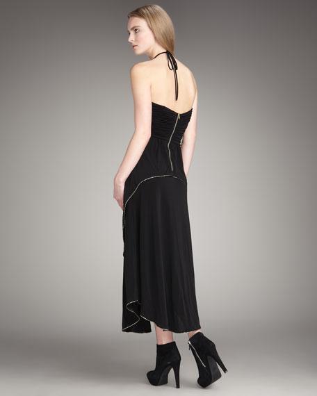 Metallic-Trim Halter Dress