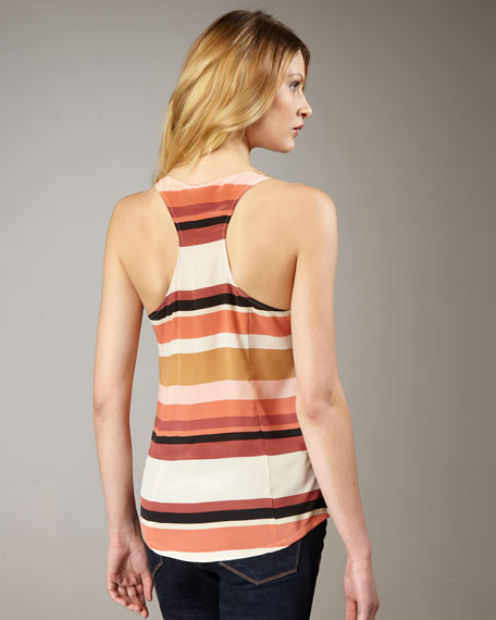 Drew D Striped Silk Tank