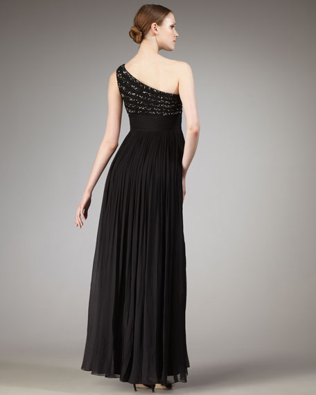 One-Shoulder Beaded-Bodice Gown