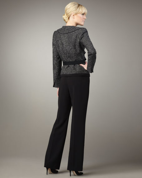Ruffle-Front Belted Suit