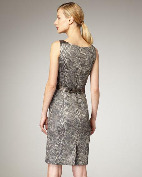 Snake-Print Jacquard Dress