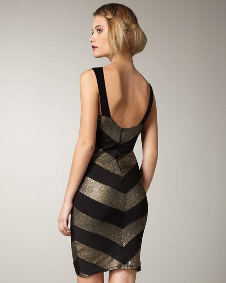 Vida Metallic Chevron-Stripe Dress