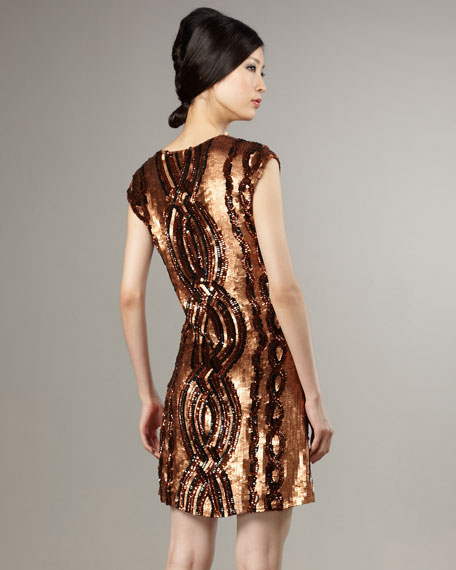 Sequined-Cable Shift Dress